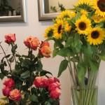 Sonnenblumen und Rosen